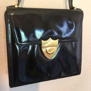 Vtg Paloma Picasso Blk Patent Bag w/Shield